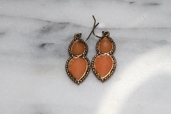 Coral Tear Drop Earrings