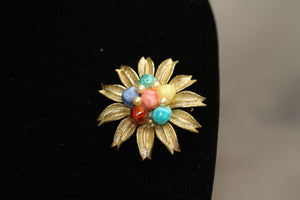Multi Color Stone Round Star Brooch