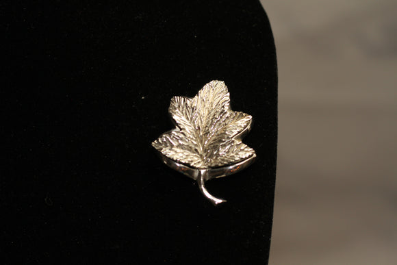 Antique Silver Leaf Brooch