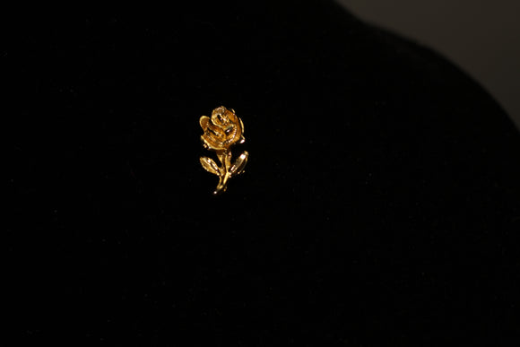 Gold Rose  Pin Brooch with Centre Rhinestone