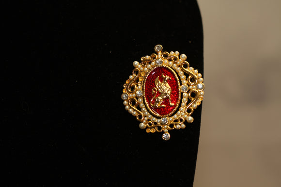1996 Palaces of St. Petersburg Volunteer Gold & Red Brooch