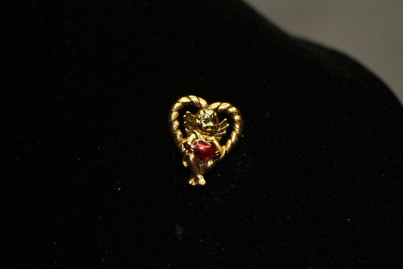 Gold Angel Heart Pin Brooch with Red Stone