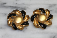 Black & Gold Swirl Clip On Earrings