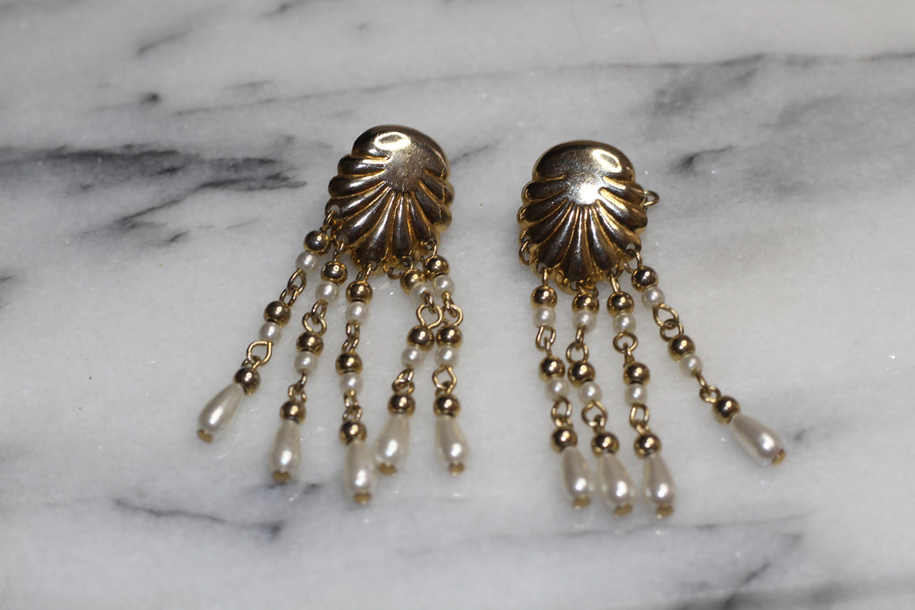 Gold  Sea Shell Fringe Earrings