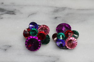 Multi Color Clip On Earrings
