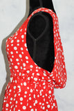 Red & White Polka Dot Flare Dress (S)
