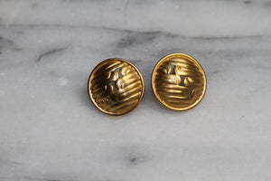 Gold Round Decorative Stud Earrings