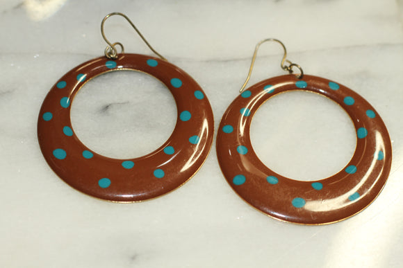 Brown & Polka Dot Blue Hoops
