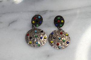 Silver Multi Color Earrings