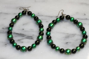 Beaded Green Hoop Earrings