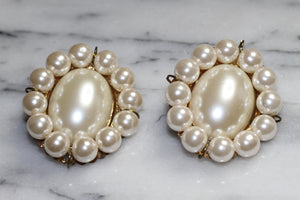 Antique Faux Pearl Statement Earrings