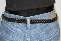 Brown Genuine Leather Woven Belt