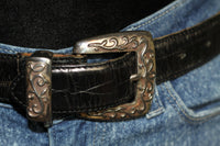 Fossil Leather Black & Silver Western Belt (28)