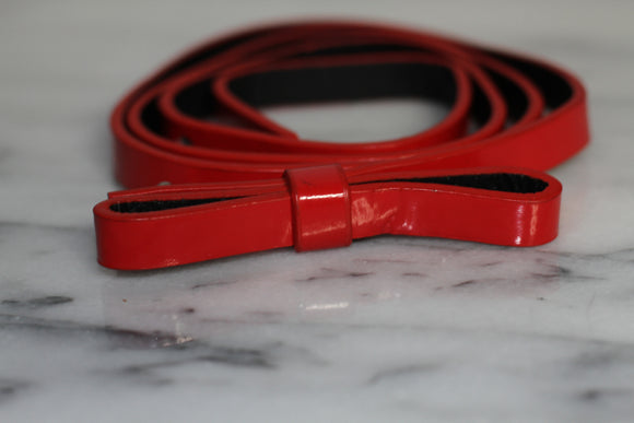 Red Leather Ribbon Belt