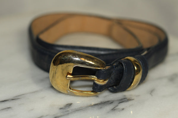 Blue & Gold Leather Belt