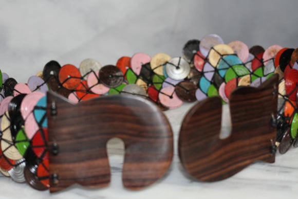 Multi- Color Belt with Wood Latch