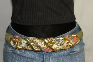 Floral Gold & Green Vintage Belt