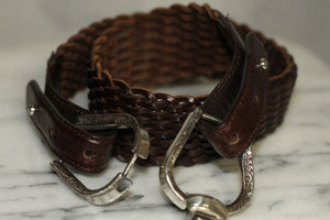 Genuine Brown Leather Belt with Silver Buckle (S)