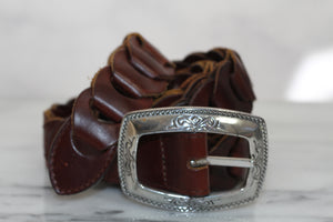 Brighton Brown Leather Belt Silver Buckle (S)