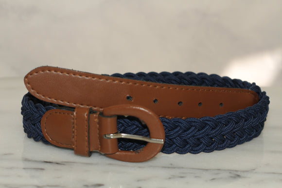 Blue Woven Belt with Brown Buckle