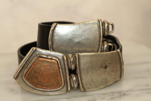 Genuine Black Leather with Silver Gold Buckle Adjustable Straps (M-L)