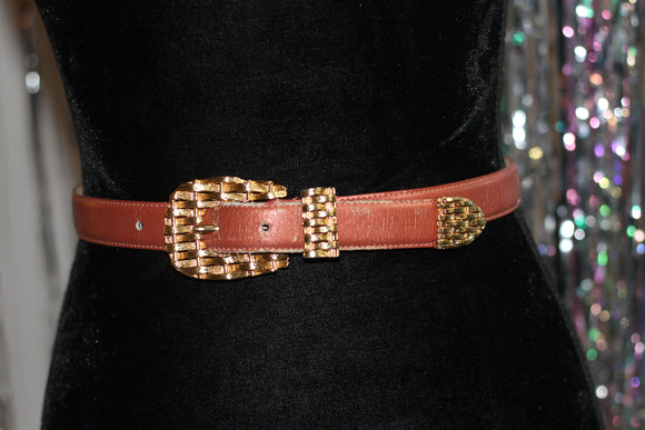 Genuine Leather Salmon Pink with Gold Buckle