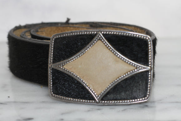 Oscar de la Renta Black Leather Embellished Buckle Belt