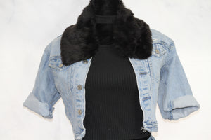 Black Mink Fur Collar Scarf Wrap