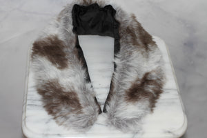 Grey & Brown Vegan Fur Shawl