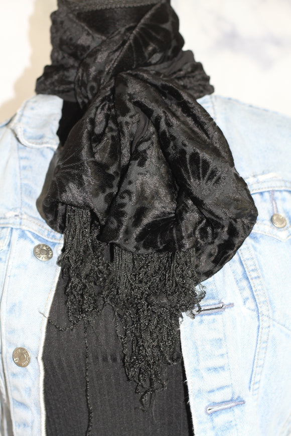 Black Suede Texture Scarf Wrap *Excellent Condition