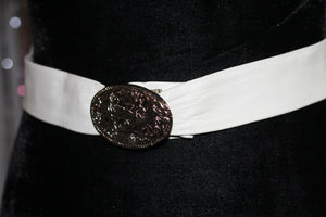 Faux Leather White Belt with Silver Decorative Buckle *Excellent Condition