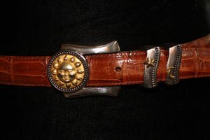 Genuine Leather Belt with Gold Sunshine Buckle *Excellent Condition