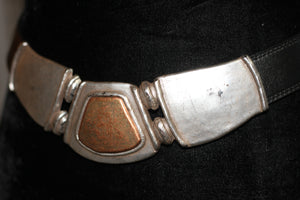 90's Genuine Black Leather with Silver Gold Buckle Adjustable Straps (M-L) *Excellent Condition