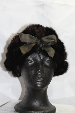 Dark Brown Mink Beret with Front Bow Hat