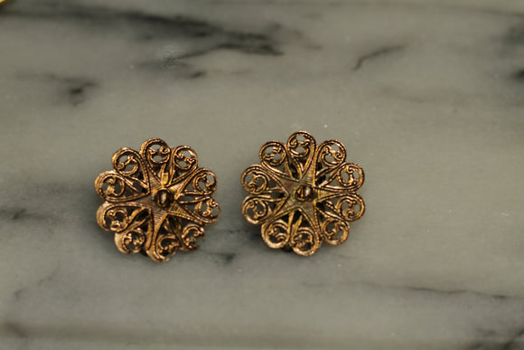 Gold Round Screw Back Earrings