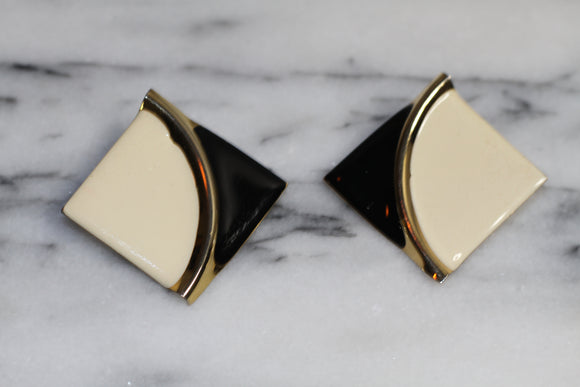 Cream & Blue Triangle Earrings