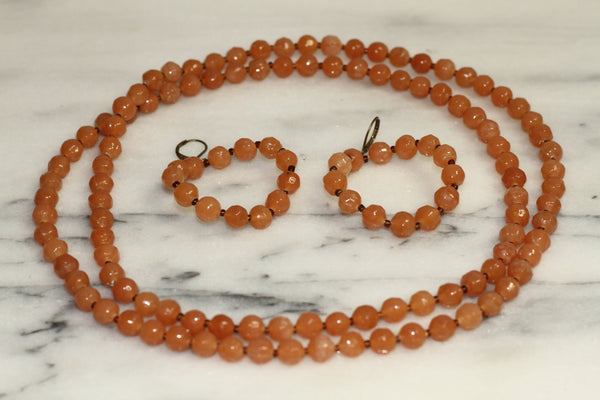 Orange Coral Necklace & Earrings