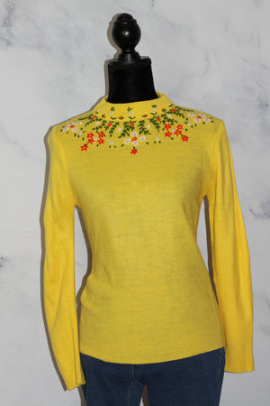 Floral Acrylic Sweater Yellow Sweater