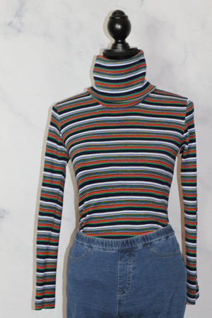 Division Atlanta Multi - Color Stripe Turtle Neck Made In Italy