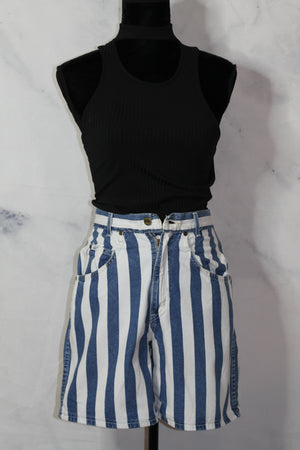 Chic Denim Cotton BLue & White Shorts (7)