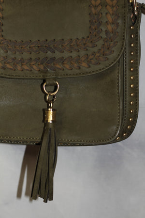 Francesca's Green Leather Crossbody Handbag with Leather Tassel