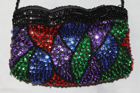Multi Color Sequin Handbag with Black Beaded Straps