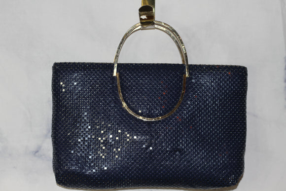 Blue Sequin Handbag with Gold Handle