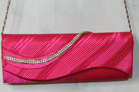 Hot Pink Clutch Handbag with Gold Link Chain