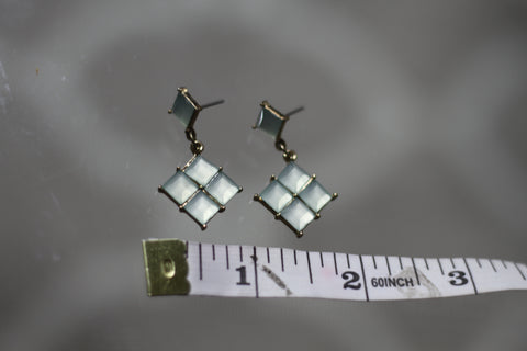 1980's Light Blue Triangular Earring with Gold Undertone *Excellent Condition