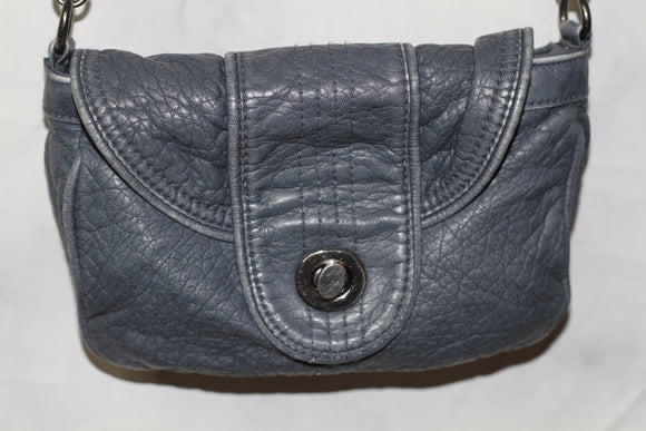 Blue Leather Crossbody Handbag