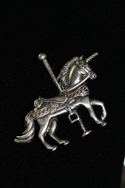 1980's Detailed Signed S.C. Carousel Horse Brooch