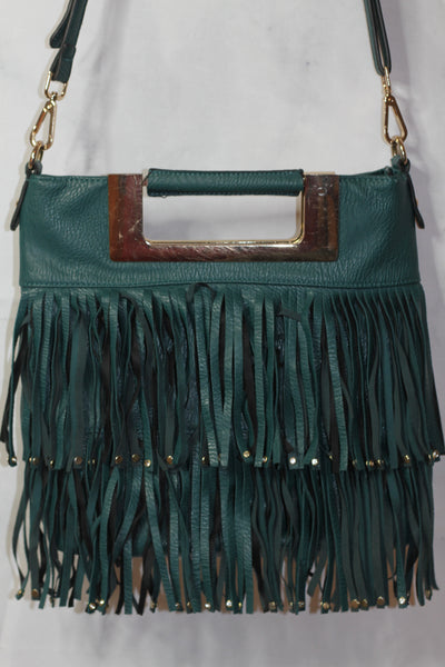 Green & Gold Genuine Leather Tote Handbag