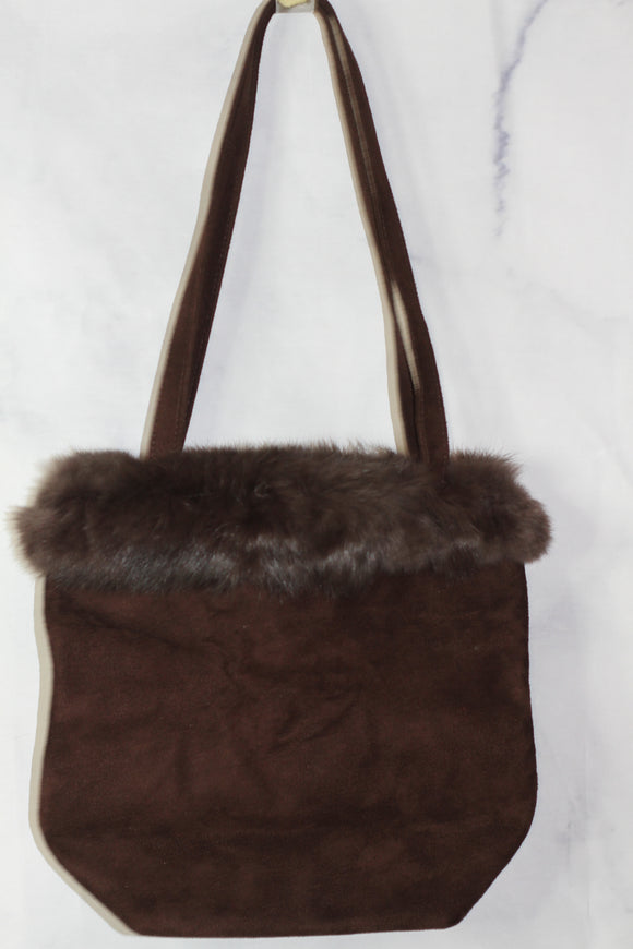 Brown Fur & Suede Bucket Handbag