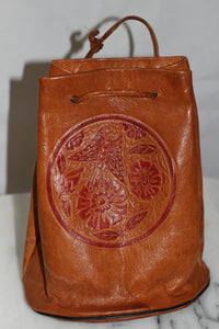 Tool Leather Carved Satchel Handbag